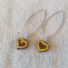 FREE POST Light ochre yellow Czech glass heart bead earrings