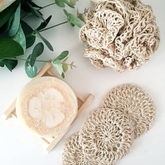 Natural Body Spa Bath Set - 6 pcs - Crochet Hemp Yarn - Handmade