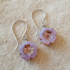 FREE POST Lilac Czech glass flower bead earrings