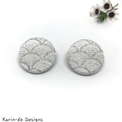 Silver (wave pattern) Kimono Button Earrings