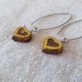 FREE POST Light ochre yellow Czech glass heart bead earrings
