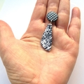 Pixel black/dark grey and white drop polymer clay earrings by Sasha + Max