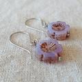 FREE POST Lilac Czech glass flower bead earrings
