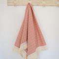 Cotton boho vintage baby blanket - pink check