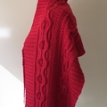Cable Knit Shawl or Wrap in Cherry Juice Red Bendigo Woollen Mills yarn