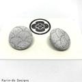 Silver (wave pattern) Kimono Button Earrings