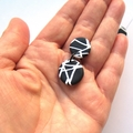 Abstract black white round drop polymer clay earrings by Sasha + Max