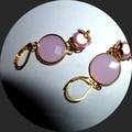 Pink jade, miracle beads and gold earrings