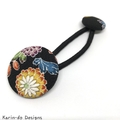 Covered button elastic hair ties