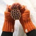 Crochet cable mitts or fingerless gloves