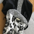 Tote Bag - Black with Moroccan Style Print Band and Centre Strip