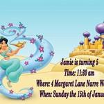 Disney Aladdin Princess Jasmine print at home  Invitation