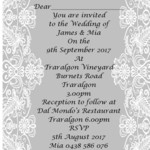Grey and White Lace print at home invitations