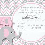 Pink Elephant Baby Shower print at home Invitation