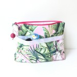 Tropical pink waterproof lined clutch. Nappy bag, cosmetics bag, travel bag 🌴🌴
