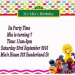 Sesame Street print at home  Invitation