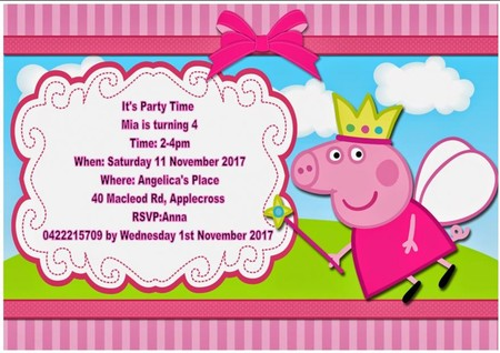 Peppa Pig print at home  Invitation