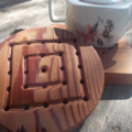 Round wooden trivet handtooled from reclaimed Canadian Cedar ON SALE!!!! 25% off