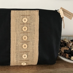 Black & Hessian Zippered Pouch