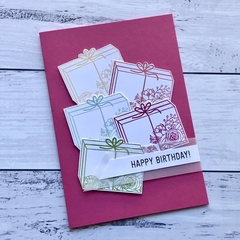 Dark Pink Present Parcel Happy Birthday Card