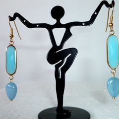 Jade and Aquamarine drop earrings