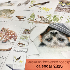 2020 Calendar (pages only) Australian  threatened species animals birds wildlife