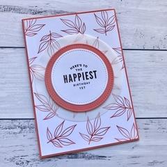 Coral Leaf Happy Birthday Card