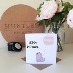 Balloon & Cute Dog Happy Birthday Card