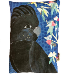 Organic Wheat Bag  - Mixed Media Black Cocky Cockatoo Design - Heat Pack Cold Pa