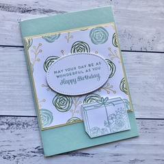 Floral Present Happy Birthday Card