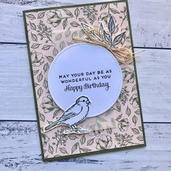Soft Pink and Olive Green Floral Bird Happy Birthday Card
