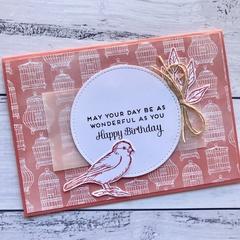 Birds and Birdcages Happy Birthday Card