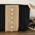 Zippered Pouch - Black With Hessian Strip