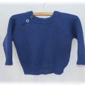 Light weight baby jumper, hand knit, wool, size 1