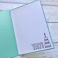 Great unisex happy birthday card in aqua and yellow