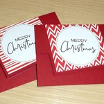 Christmas gift card holder / money wallet - Set of 2 - red and white