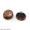 Red & Pink Kimono Button Earrings