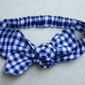 Cotton Headband - dark blue gingham check