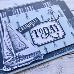 Nautical Celebrate Today Card, Birthday, Congratulations, Retirement etc