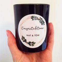 Personalised Tumbler Candle. Gold Geometric and Leaves / Congratulations