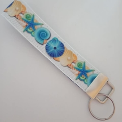 Blue and beige seashell key fob wristlet