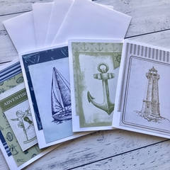 Notecards set of 4, Nautical themed