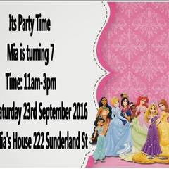 Disney Princesses print at home  Invitations