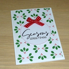 Set of 3 Merry Christmas cards - holly - FREE POST