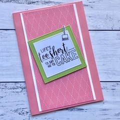 Strawberry Pink and Apple Green Happy Birthday Card