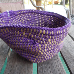 Crocheted bowl in purple and mustard yarn, handmade basket now ON SALE!!!!