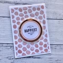 Pink Spotty Happy Birthday Card