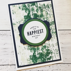 Navy and Green Abstract Happy Birthday Card
