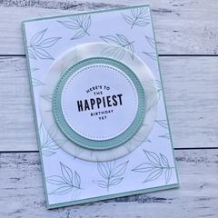 Pale blue leaf Happy Birthday Card