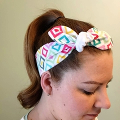 Cotton Headband - bright multi colour squares - tie up hair band
